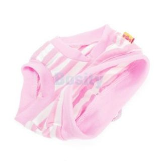 Cute Female Pet Dog Puppy Sanitary Pant Short Panty Pink Striped Diaper Brief L
