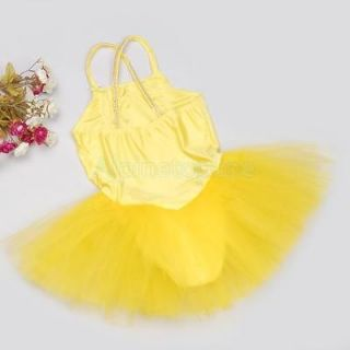 Girl Ballet Tutu Dance Dress Straps Skirt 7 8T Yellow