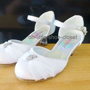 Baby Toddler White Pageant Crowning Flower Girls Dress Dance Shoes Size 10 11