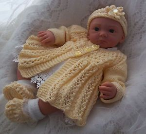Hand Knitted Baby or Reborn Clothes Girls Matinee Set 0 3 Months