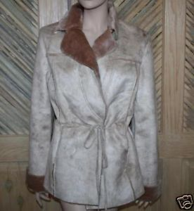 Baby Phat Light Beige Faux Fur Coat Size Medium