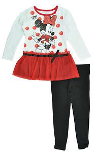 Disney Toddler Girls White Red Black Minnie Mouse Legging Set Size 2T 3T 4T