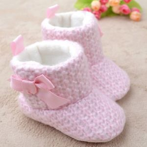 Newborn Toddler Baby Girl Crib Shoes Soft Bowknot Shoes Boots for 0 18 Months