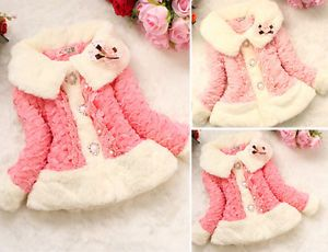 Hot Baby Girls Toddler Faux Fur Coat Placket Kids Jacket Outwear Garment Clothes