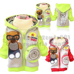 Kids Baby Girls Boys Sweatshirt Hoodies Bear Panda Animal Jackets Coats Sz 9M 3Y