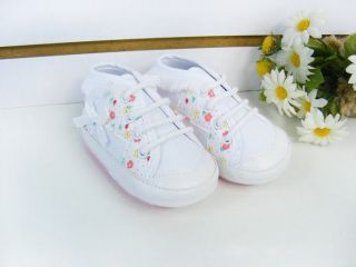 White Flower Fringe Sneaker Skidproof Soft Outsole Toddler Baby Girl Kid's Shoes