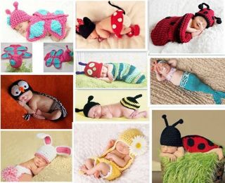 Cute Baby Girls Boy Newborn Baby Photography Props Handmade Outfits Freeshipping