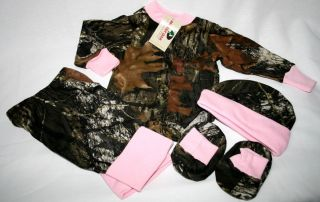 Mossy Oak Camo Pink 4pc Baby Infant Snap Up Diaper Shirt Gift Set Girl