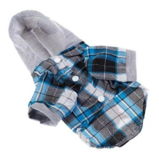 3X Blue Plaid Leisure Casual Style Shirt Hoodie Coat Pet Dog Clothes Apparel S