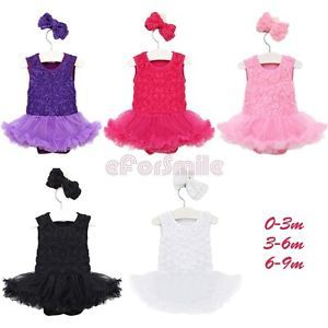 Newborn Baby Girl Infant Headband Romper Jumpsuit Tutu Flower Clothes Outfit Set