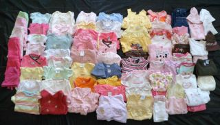 Huge 90 Piece Lot of 0 3 3 6 Month Baby Girls Clothes Outfits PJ's Hats Etc