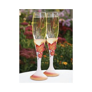 Autumn Leave Fall Wedding Toasting Glasses Flutes Set 2