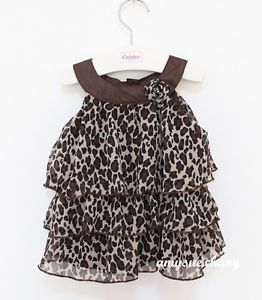 1pc Baby Kid Toddler Girl Chiffon Dress Outfit Clothes Top Tutu Leopard 18 24M