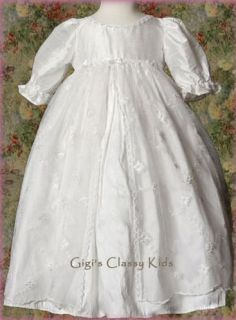 New Baby Girls White Victorian Silk Christening Baptism Gown Dress w Bonnet 201