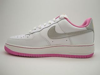 314219 103 Girls Youth Nike Air Force 1 White Metallic Silver Rose Sneakers