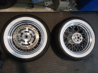 Harley Davidson Touring Chrome 40 Spoke Wheels with White Wall Tires