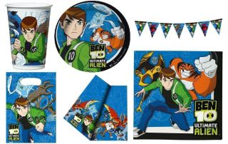 Childrens Kids Official Ben 10 Birthday Party Bags Napkins Plates Cups Hats New
