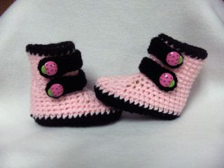 Crochet Baby Booties Shoes Handmade 0 3 Months Pink Black Ladybug Straps
