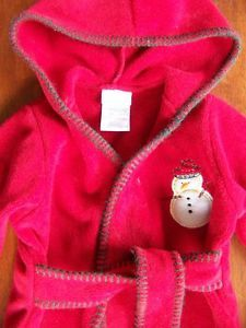 Carter's Baby Boy Girl Up to 9 Months Warm Soft Fleece Hooded Bath Robe Snowman