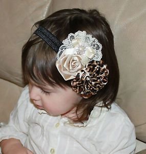 Baby Girl Brown Ivory Tan Leopard Puff Rose Bling Flower Lace Bow Headband Photo