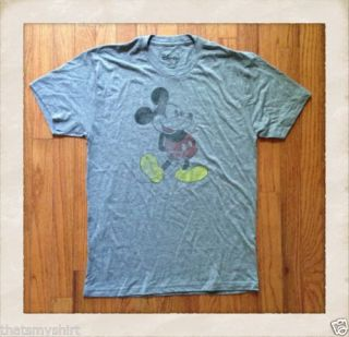 New Mens Mighty Fine Vintage Inspired Tri Blend Mickey Mouse Tee Shirt in Gray