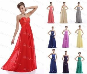 Sexy Chiffon Evening Dresses Formal Prom Gown New Bridesmaid in Stock Size 6 18