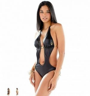 Sexy Baby Phat s Black Leather Metallic Gold Monokini Swimsuit Bikini $75