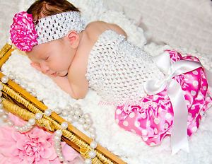 Newborn Baby Hot Pink White Dot Bloomer wif White Crochet Tube Top 2pc Set NB 2Y