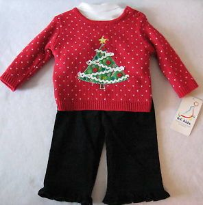 Infant Baby Girls Christmas Outfit Pants Sweater Sz 6 9M Clothing Clothes