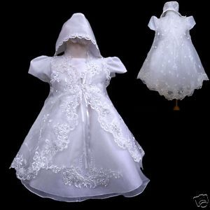Baby Toddler Girl Christening Baptism Church Dress Gown Size 0 1 2 3 4 0 18M