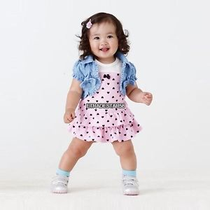 Etds Lovely Baby Girl's Kids Cute 2pcs Outfit Set Short Denim Jacket Dress 0 2Y