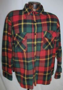 Heavy Vintage Mens  Plaid Wool Button Up Casual Work Shirt Sz XL