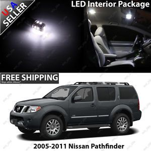 Nissan Pathfinder Ultra White 12V Interior LED Light Bulb Package Set