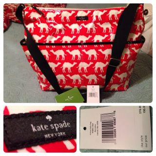 New with Tag Kate Spade Daycation Serena Baby Bag Red Flame Camels $278