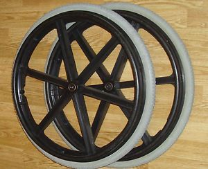 "2 24"" Quickie Invacare Wheelchair Flat Free Wheel Solid Rear Tires Coated Rims"