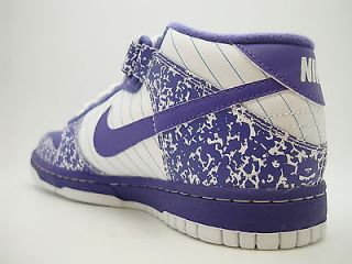 309165 151 Girls Youth Nike Dunk Mid GS White Varsity Purple Notebook Pack