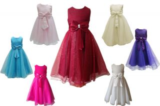 Girls Bow Dress for Weddings Bridesmaids Flowergirl Party