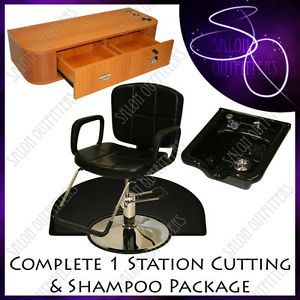 Reclining Hydraulic Barber Chair Styling Station Shampoo Bowl Salon Equipment