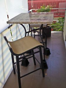 "Marble Bistro Patio Table Set by Sun Isle Now Casual Home 29"" w 2 Chairs"