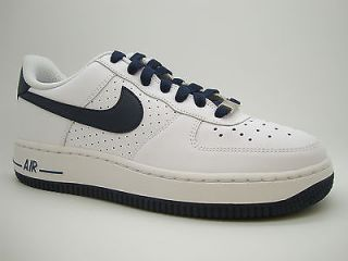 314192 147 Boys Youth Nike Air Force 1 White Obsidian Sneakers Uptowns