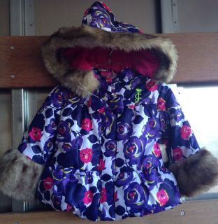 Juicy Couture Baby Girl's Hooded Faux Fur Trim Puffer Jacket Size 12M $158