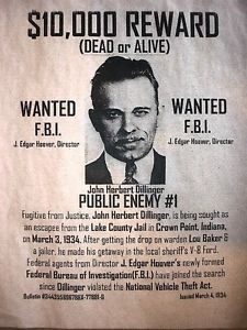 "Gangster John Dillinger 10 000 Reward Wanted FBI Crime Poster 11""x14"" 097"