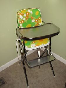 Vintage Cosco Stainless Baby Folding High Chair Retro Flower Vinyl Toddler