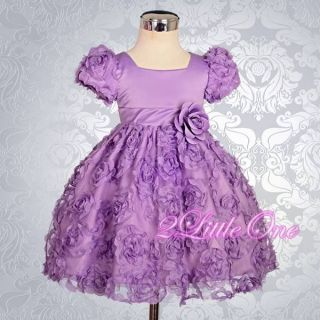 Embossed Flower Girl Dress Wedding Pageant Party Birthday Purple Baby 12 18M 159