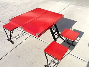 Vintage Handy Folding Table Chairs Set Camping Picnic Milwaukee Stamping Co