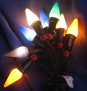 Vintage String of Christmas Tree Lights C6 Bulbs Working Wooden Beads 2 of 10