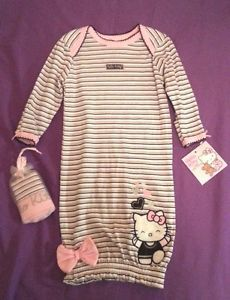 Hello Kitty Baby Girl Gown Cap Set Outfit Layette Size Newborn 0 6 Months