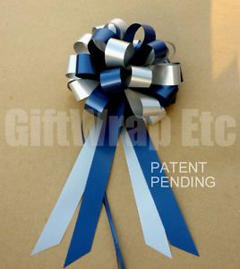 10 Navy Blue Silver Grey Gray Pull Bows Gift Party Wedding Pew Chair Decorations