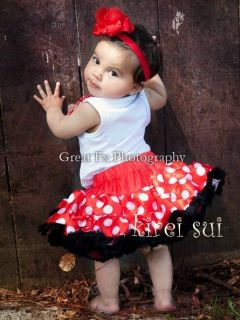 Red White Polka Dots Minnie Mouse Pettiskirt Birthday Party Tutu 1 2 WS273