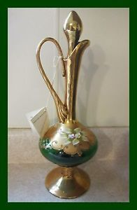 Murano Bellini Italian 24K Gold Emerald Green Painted Glass Decanter Pitcher